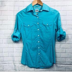 Converse One Star Sky Blue Button Down Shirt XS